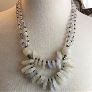"Vintage Chunky Quarts Crystal Necklace 21"" Long"